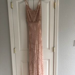 Adrianna Papell Sequin-Beaded Gown - Blush